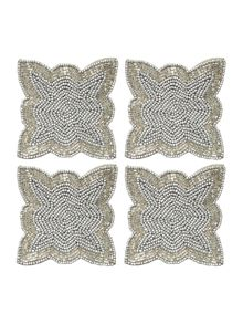 Biba Pewter twist beaded coasters set of 4