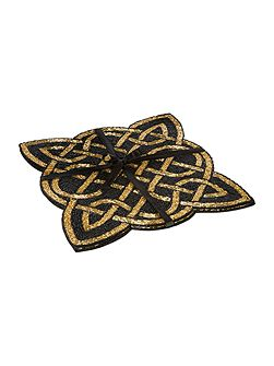 Black and gold twist beaded placemats set of