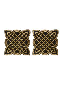 Biba Black and gold twist beaded placemats set of 2
