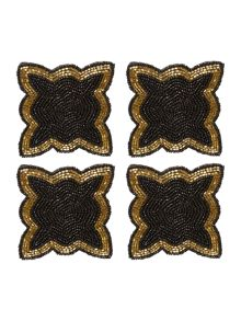 Biba Black and gold twist beaded coaster set of 4