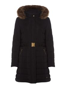 Dickins & Jones Puffer Coat With Faux Fur Hood