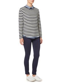 Dickins & Jones Beverly Boxy Jersey Textured Stripe Top