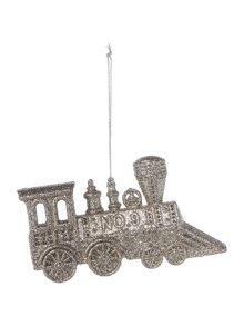 Linea Glitter Train Ornament