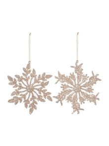 Linea Set of 2 Glitter Snowflakes