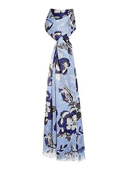 Floral and Butterfly Print Scarf
