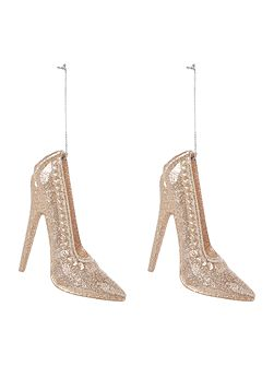 Set of 2 Blush High Heel Ornaments