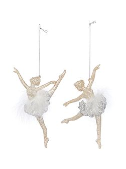 Set of 2 Ballet Dancers with Feathers