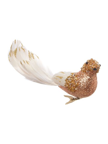 Linea Glitter clip on bird with feathers