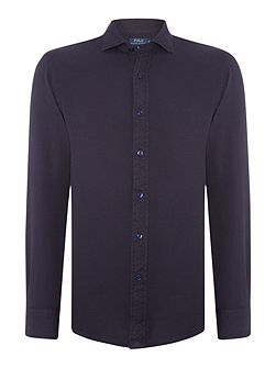 Long sleeve slim fit solid pique shirt