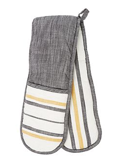 Yellow stripe double oven glove