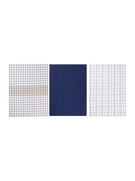 Linea Simple check set of 3 tea towels