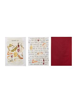 Cheese and wine set of 3 tea towels