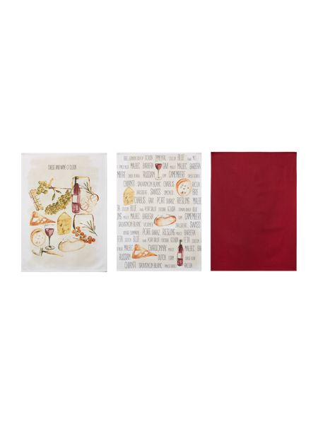 Linea Cheese and wine set of 3 tea towels