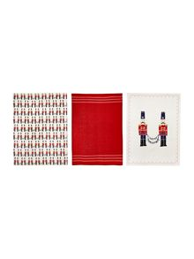 Linea Nutcracker set of 3 tea towels