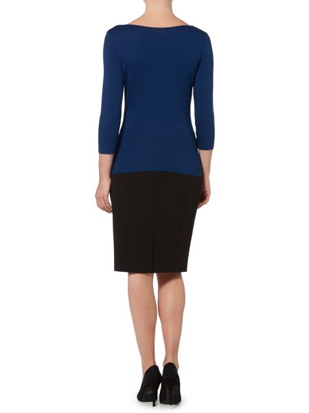 Linea Twist cowl 3/4 sleeve jersey top