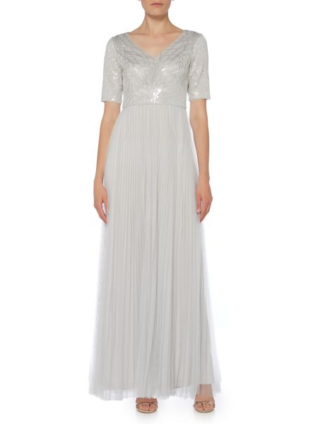 Adrianna Papell Short sleeve V neck gown with tulle skirt