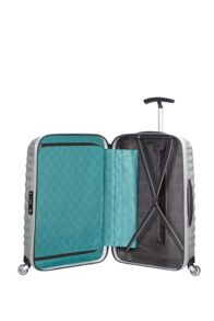 Samsonite Lite-Shock silver 4 wheel 55cm cabin suitcase