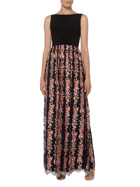 Adrianna Papell Sleeveless dress with floral embroidered skirt