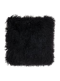 Mongolian lamb cushion, black