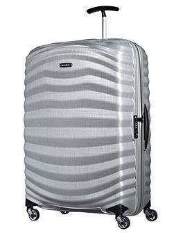Lite-Shock silver 4 wheel large 75cm suitcase