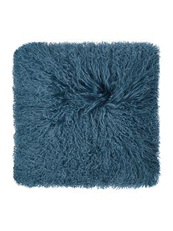 Mongolian lamb cushion, teal