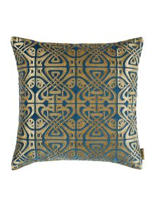 Biba All over logo cushion, teal