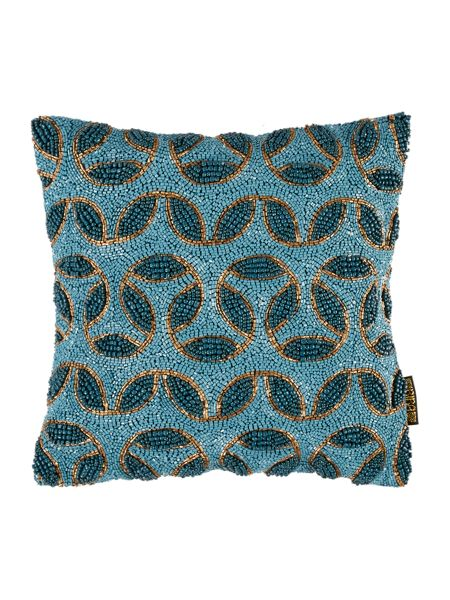 Biba Teal beaded cushion