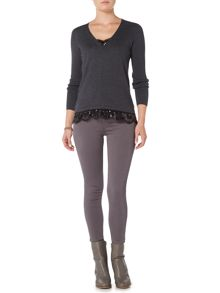 Gray & Willow Swada sequin and lace detail knit