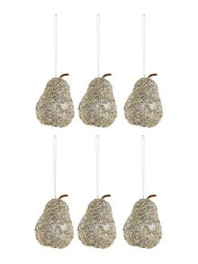 Linea Set of 6 Champagne Glitter Pears