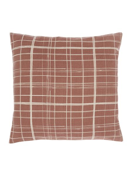 Gray & Willow Painted check rust cushion