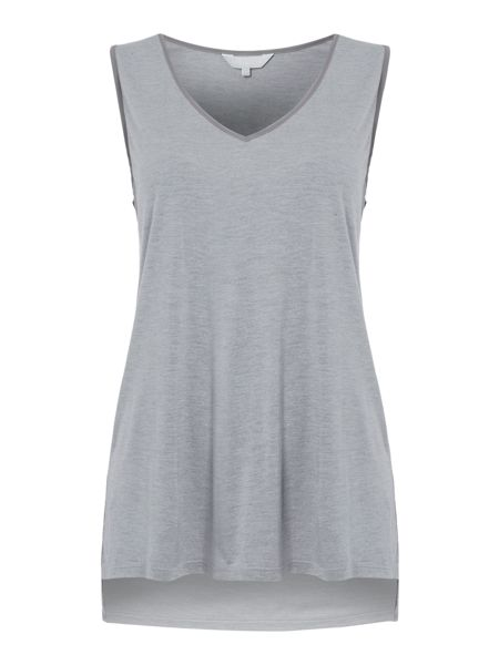 Gray & Willow Svey step hem top with woven trim