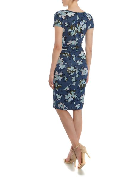 Max Mara Epsilon short sleeve ruched printed dress