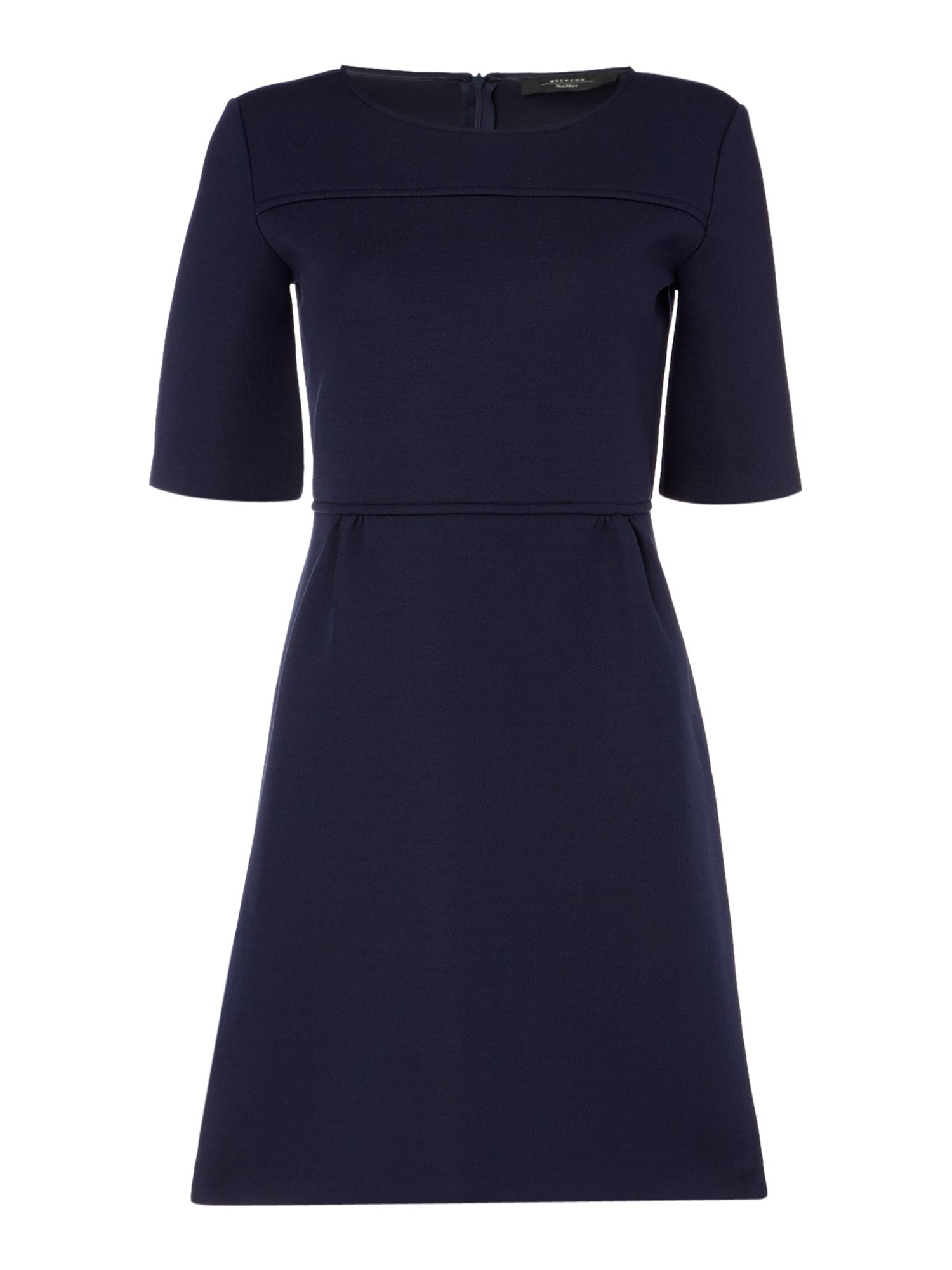 Max Mara Weekend Berbice long sleeve neoprene a line dress, Blue
