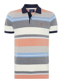 Gant Oxford Multi Stripe Short Sleeve Polo Shirt