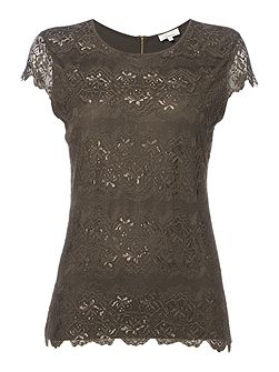 Zip back lace front top