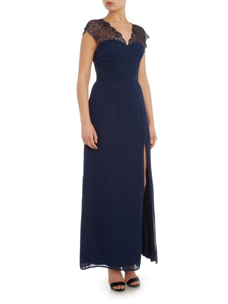 Elise Ryan Cap Sleeved Lace Shoulder Maxi Dress
