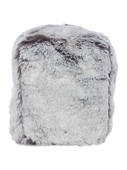 Grey faux fur doorstop