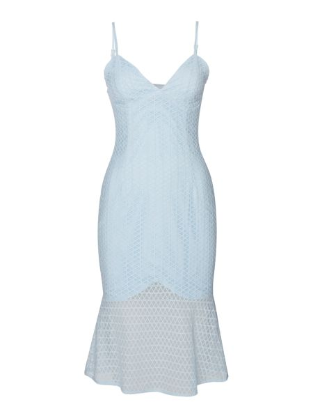 Bardot Sleeveless V Neck Neptune Fishtail Peplum Dress