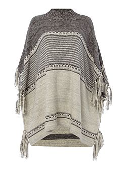 Funnel Neck Fringe Poncho