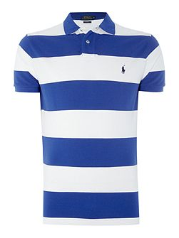 Short-Sleeve custom fit wide stripe mesh polo