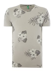 Benetton Tropical Floral Print Short Sleeve T-shirt