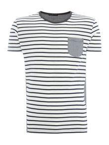 Sisley Men Stripe Pocket Contrast Collar Crew Neck T-shirt