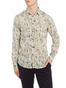 Sisley Men Floral Print Long Sleeve Shirt