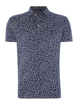 Short-Sleeve custom fit floral jersey polo