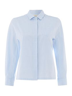 Hilde button front long sleeve shirt with pockets