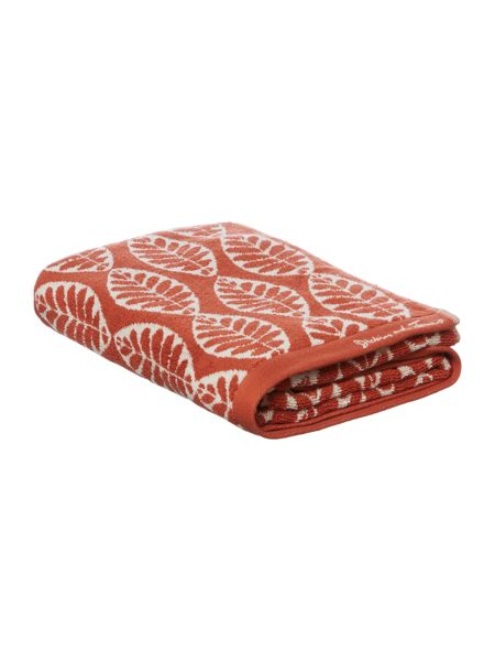 Dickins & Jones Maple leaf jacquard bath towel burnt orange
