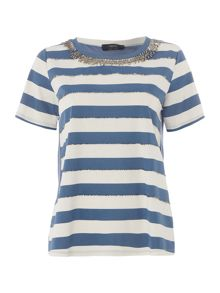Max Mara Samaria striped embellished t shirt