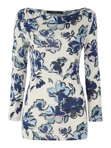 Max Mara Entrata short sleeve cowl neck printed top