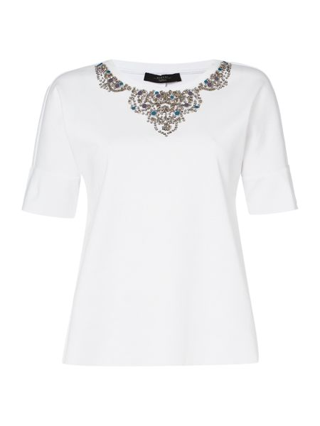 Max Mara Callas short sleeve embellished t shirt
