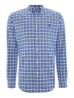 Long Sleeve slim fit cotton stretch checked shirt